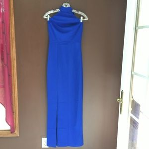 Blue Long Straight Halter top style dress